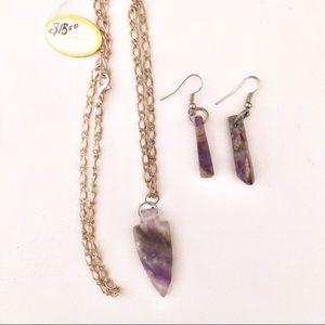Jewelry - Semiprecious amethyst arrowhead necklace earring